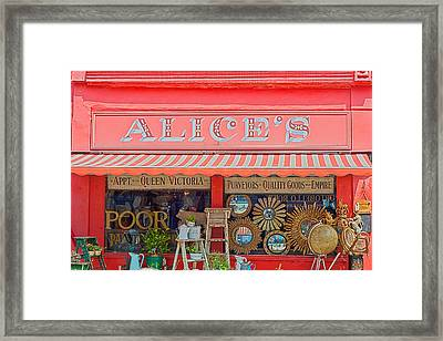 Alice's Antiques Framed Print by Georgia Fowler