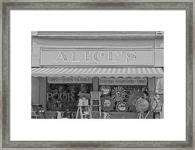 Alice's Antiques In Black And White Framed Print by Georgia Fowler