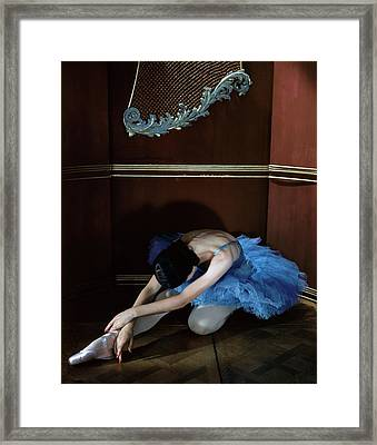 Alicia Markova In A Blue Tutu Framed Print