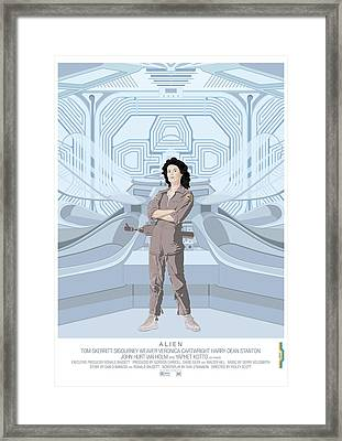Alien 1979 Movie Poster - Feat. Ripley Framed Print by Peter Cassidy