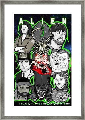 Alien 35th Anniversary Collage Framed Print by Gary Niles