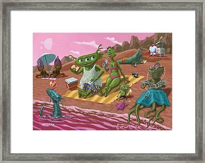 Alien Beach Vacation Framed Print by Martin Davey