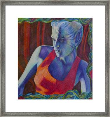 Framed Print featuring the painting Alien Beauty by Suzanne Silvir