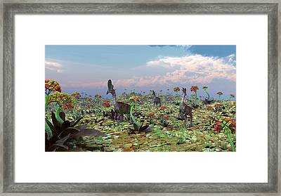 Alien Bipedal Animals Framed Print by Walter Myers