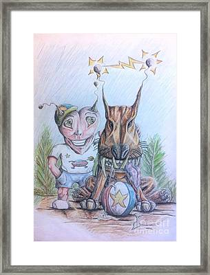 Alien Boy And His Best Friend Framed Print