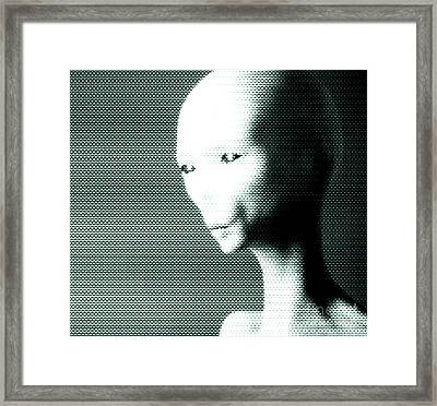 Alien Grey Pattern Framed Print