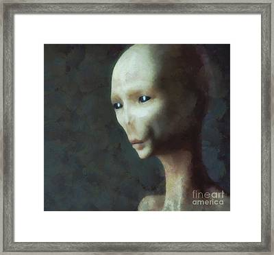Alien Grey Thoughtful  Framed Print by Pixel Chimp