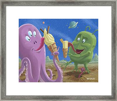 Alien Ice Cream Framed Print by Martin Davey