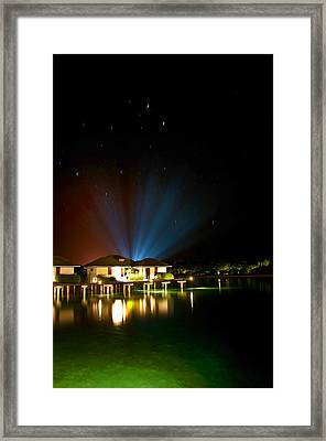 Alien Light At The Tropical Resort Framed Print by Jenny Rainbow