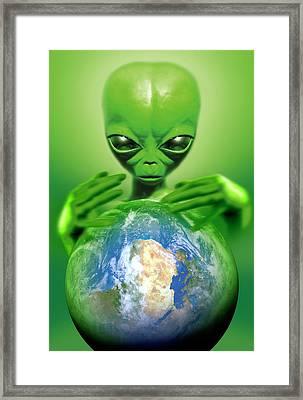 Alien Observing Earth Framed Print by Detlev Van Ravenswaay
