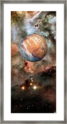 Alien Planet And Carina Nebula Framed Print