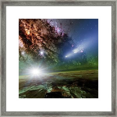 Alien Planet And Comet Framed Print by Detlev Van Ravenswaay