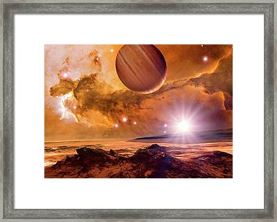 Alien Planet And Eagle Nebula Framed Print by Detlev Van Ravenswaay