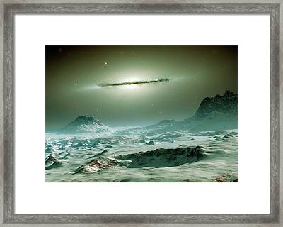 Alien Planet And Galaxy Framed Print by Detlev Van Ravenswaay