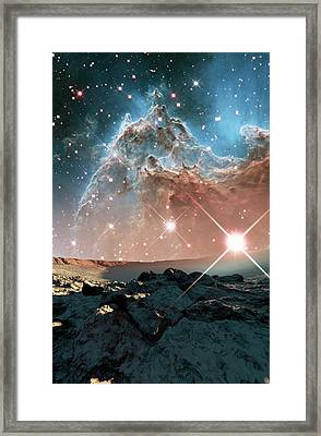Alien Planet And Monkey Head Nebula Framed Print by Nasa, Esa, And The Hubble Heritage Team (stsci/aura)/detlev Van Ravenswaay