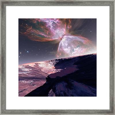 Alien Planet And Nebula Framed Print