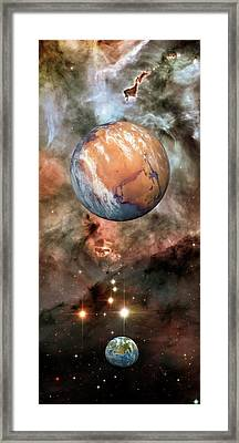 Alien Planets And Carina Nebula Framed Print