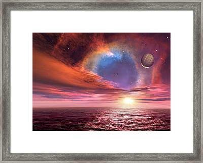 Alien Planets And Exploding Star Framed Print by C. Robert O'dell/detlev Van Ravenswaay