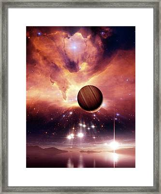 Alien Planets And Nebula Framed Print by Nasa, Esa And Jes�s Ma�z Apell�niz (instituto De Astrof�sica De Andaluc�a, Spain)/detlev Van Ravenswaay