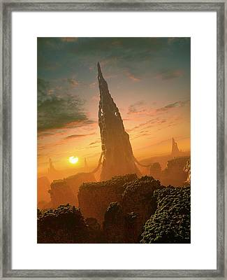 Alien Structures On An Extrasolar Planet Framed Print