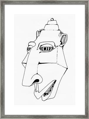 Alien Tiki Head Framed Print by Ever Inward