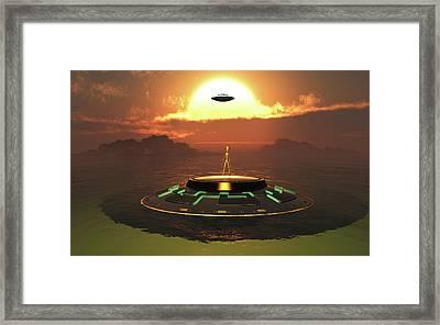 Alien Usos Emerging From Earths Watery Framed Print by Mark Stevenson