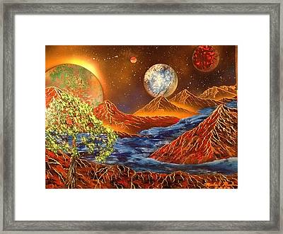 Framed Print featuring the painting Alien Worlds by Michael Rucker