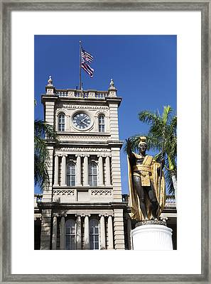 Aliiolani Hale And Kamehameha Framed Print by Brandon Tabiolo