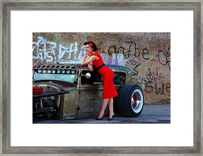 Alisha With Radillac And Graffiti Framed Print by Paul Wash