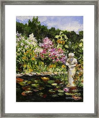 Alisons Water Garden Framed Print