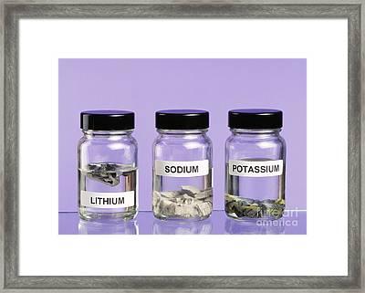 Alkali Metals In Jars Framed Print by Martyn F. Chillmaid