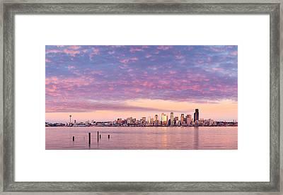 Alki Beach Pink Sunset Framed Print by Thorsten Scheuermann