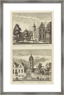 Alkmaar With Nieuwe Doelen And The Hof Van Sonoy Framed Print by Leonard Schenk And Abraham Rademaker