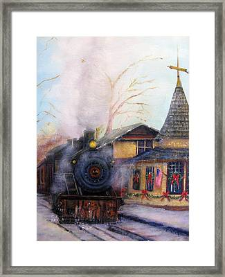 All Aboard At The New Hope Train Station Framed Print
