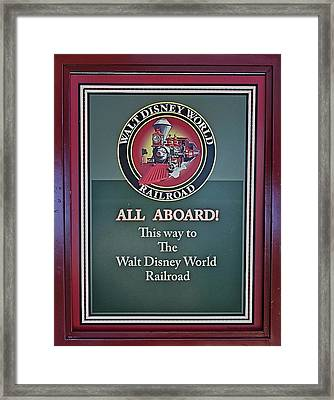 All Aboard Sign Framed Print by Thomas Woolworth