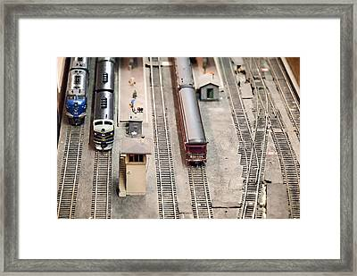 Model Trains At The Train Station Framed Print by Vizual Studio