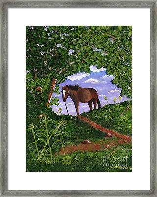 Framed Print featuring the painting All Alone by Laura Forde