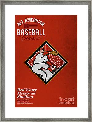 All American Baseball Classic Vintage Poster Framed Print by Aloysius Patrimonio