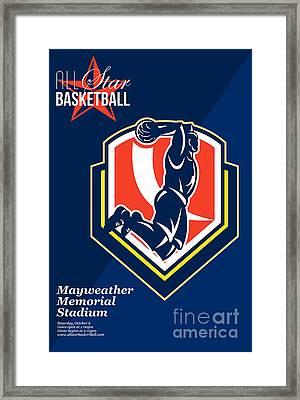 All American Basketball Retro Poster Framed Print by Aloysius Patrimonio
