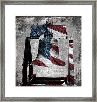 All American Liberty Bell Art_denim Framed Print
