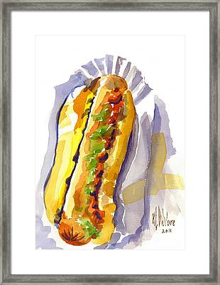 All Beef Ballpark Hot Dog With The Works To Go In Broad Daylight Framed Print by Kip DeVore