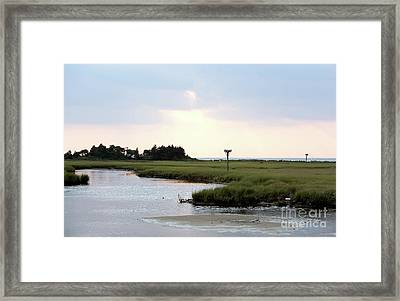 All Calm At Sandy Hook Framed Print by John Rizzuto