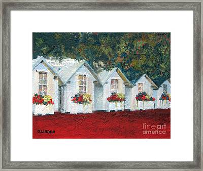 Framed Print featuring the painting All In A Row by Sandy Linden