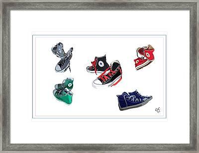 All My Chucks Framed Print by Christa Cruikshank