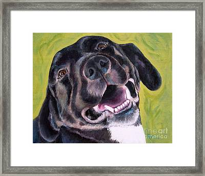 All Smiles Black Dog Framed Print