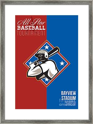 All Star Baseball Tournament Retro Poster Framed Print
