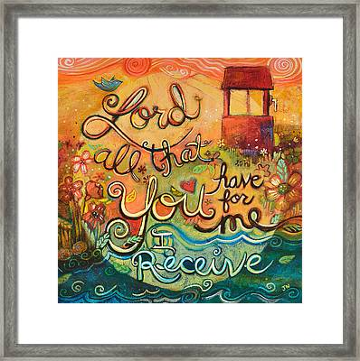 All That You Have For Me Framed Print by Jen Norton