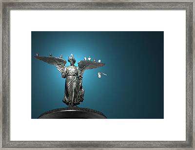 All The Winged Creatures In Blue Framed Print by Joanna Madloch