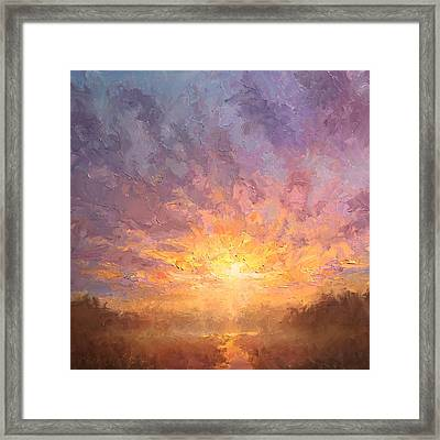 Impressionistic Sunrise Landscape Painting Framed Print by Karen Whitworth