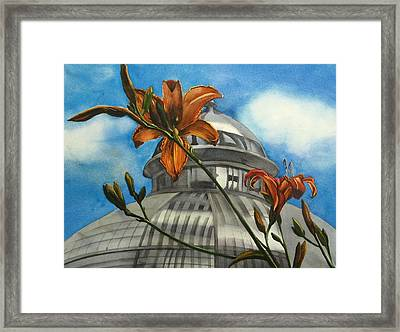 Framed Print featuring the painting Allan Garden With Daylilies by Alfred Ng